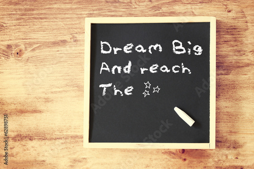 the phrase dream big written on chalkboard