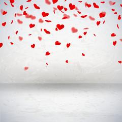 Raum mit Herzkonfetti