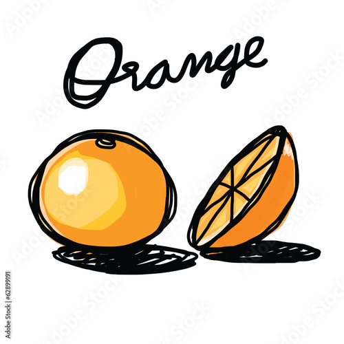 orange hand - drawn