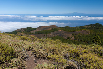 Volcanic landscape of La Palma with a view at Tenerife