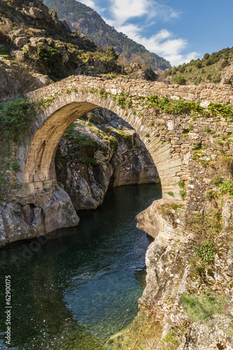 Genoese bridge at Asco in Corsica