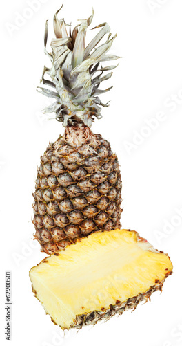 cross section and ripe pineapple isolated