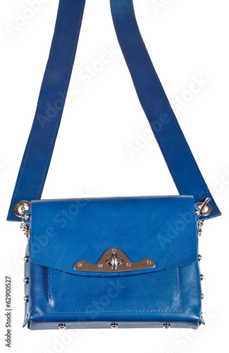 flat blue leather ladies bag with wide belt