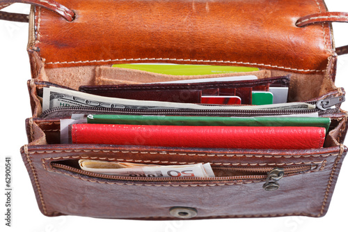 money, credit cards, pasport in ladies handbag