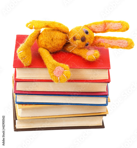 felt soft toy rabbit lies on stack of books