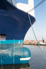 Bow of big ship in harbor of Urk, the Netherlands