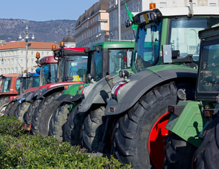 Row of Tractors Parked on Trieste's Waterfront, Italy
