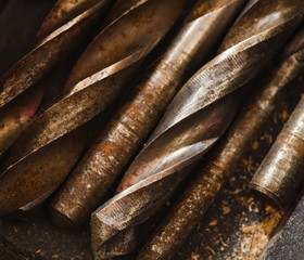 used solid drill bits. work tool backgrounds