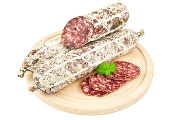 salami on wooden planks