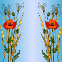 Red poppy in blue style