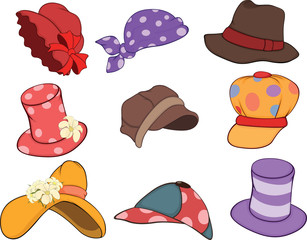 Set of Hats Cartoons