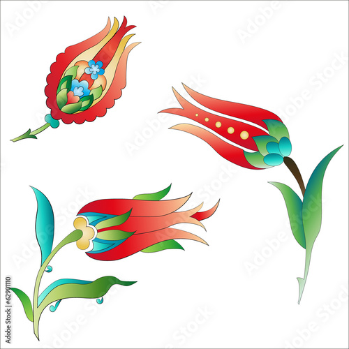 Ottoman art flowers three