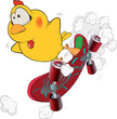 Chicken and skate board cartoon