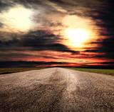 strada sterrata di campagna al tramonto - Fine Art prints