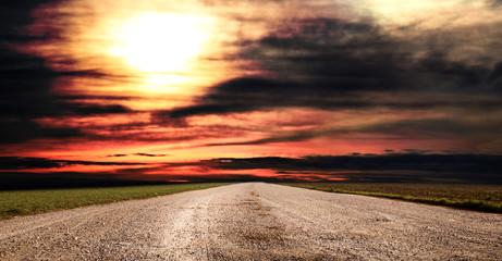 panorama rurale al tramonto