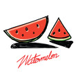 Watermelon slices hand - drawn