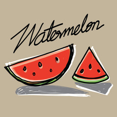 Watermelon slices hand - drawn