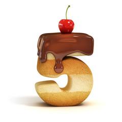 cake 3d font number 5