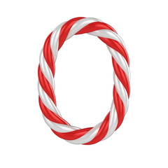 christmas candy cane 3d font - number 0