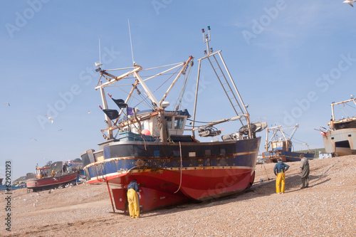 Fishing boat arrived on land