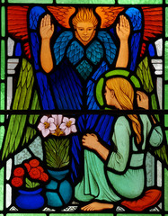 Mary and Gabriel: Annunciation in stained glass