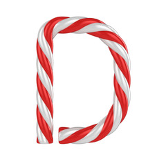 christmas candy cane font - letter D