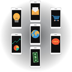 Vector Mobile marketing shopping online concept
