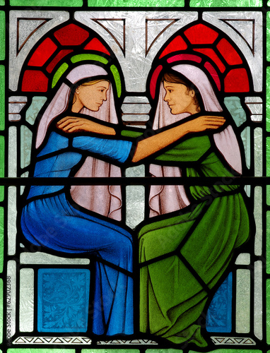 Visitation: Mary meets Elizabeth. In stained glass