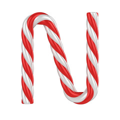 christmas candy cane font - letter N