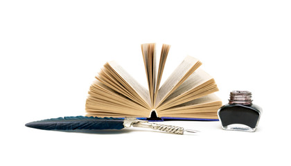 open book, pen, inkwell on a white background