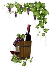 Rotweinflasche im Holzeimer