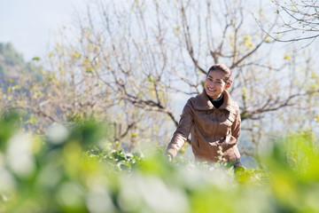 Asia girl at beautiful strawberry farm in the morning at Doi Ang