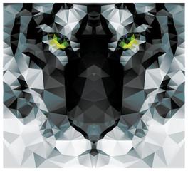 Geometric polygon white tiger head, triangle pattern design