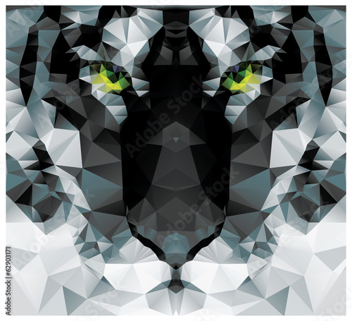 Geometric polygon white tiger head, triangle pattern design