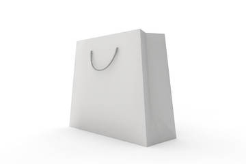 white paper bag on a white background