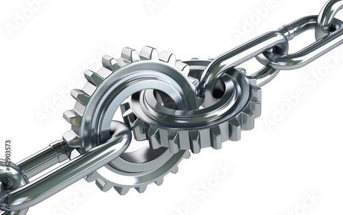gears chain links on a white background