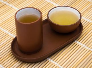 Chinese tea set on a Mat