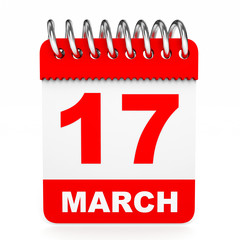 Calendar on white background. 17 March.