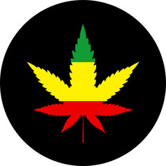 Rasta colors marijuana sign