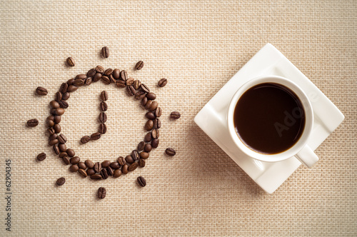 Time to coffee, Cup of coffee and coffee beans