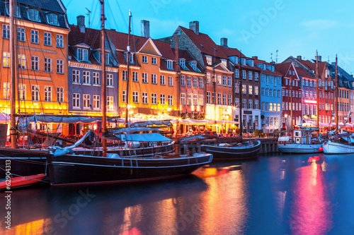 Poster Evening scenery of Nyhavn in Copenhagen, Denmark