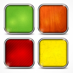 Set of metal square color icons on white, vector illustration