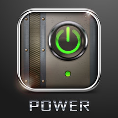Metal square icon with power button, vector illustration