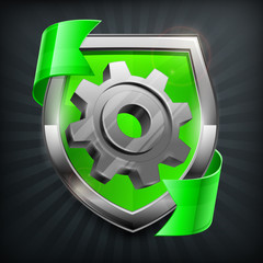 Shield with gear and green ribbon isolated on black,
