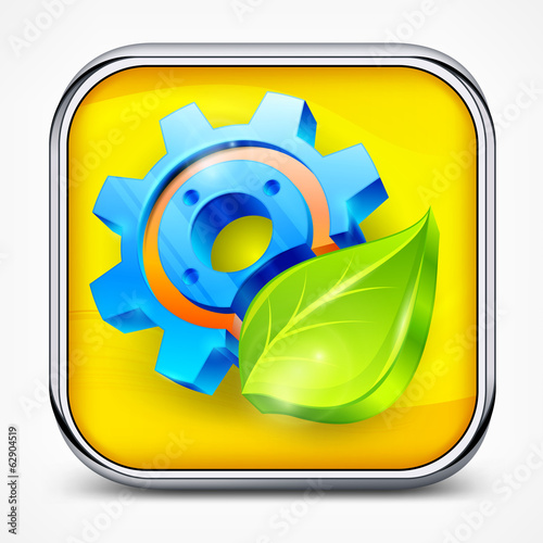 Icon with gear and gear isolated on white, mechanical vector