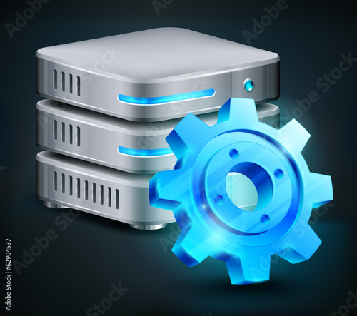 Database and blue gear, computer hard disk, vector illustration