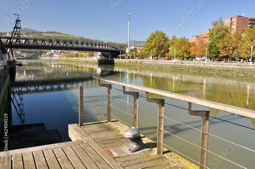 Riverside walk, Nervion river at Bilbao (Spain)