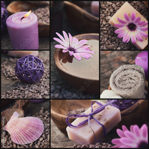 Purple spa collage