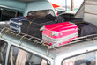 Suitcases on the car closeup view