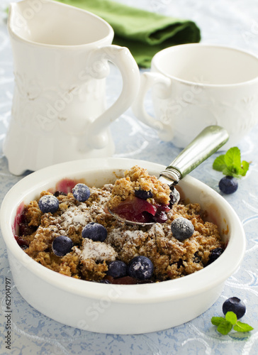 Blueberry and apple crumble.